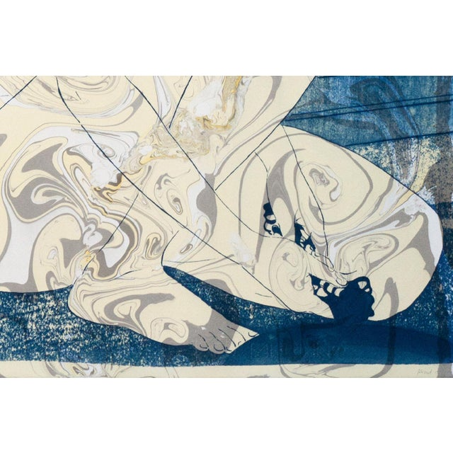 """2020s """"Geisha in the Bath"""", Hashiguchi Goyo Inspired Japanese Cyanotype With Marbling on Watercolor Paper 2020 For Sale - Image 5 of 10"""