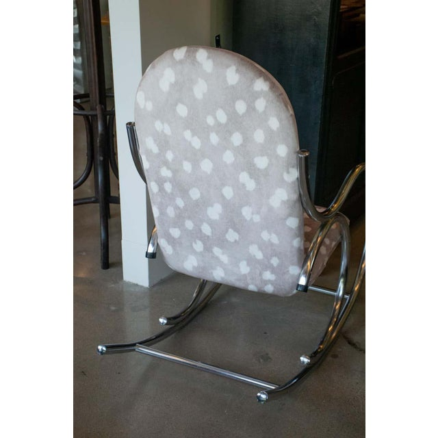 Metal Vintage Chrome Rocking Chair For Sale - Image 7 of 11