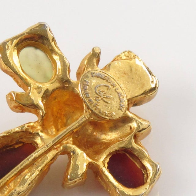 Christian Lacroix Paris Signed Long Pin Brooch Gilt Metal and Cabochon For Sale In Atlanta - Image 6 of 8