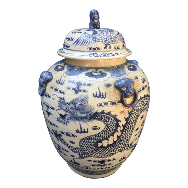Chinese Foo Dog/Dragon Lidded Urn For Sale