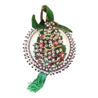 1960s Mid Century Beaded Fancy Christmas Ornament Christmas Tree Red Green White For Sale