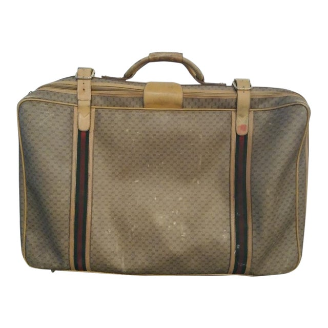 e420152b0 Gucci Vintage Leather Signature Gg Luggage Suitcase For Sale !