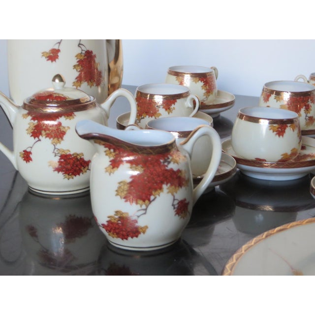 Red Vintage Chinese Porcelain Espresso Cups & Saucers, Coffee Pot, Creamer, Sugar Bowl & Dessert Plate - Service for 9 For Sale - Image 8 of 10