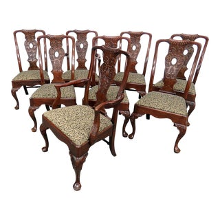 Vintage Mid Century Henredon Georgian Style Dining Chairs- Set of 8 For Sale