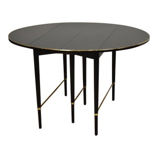 Paul McCobb Black Lacquer and Brass Dining Table