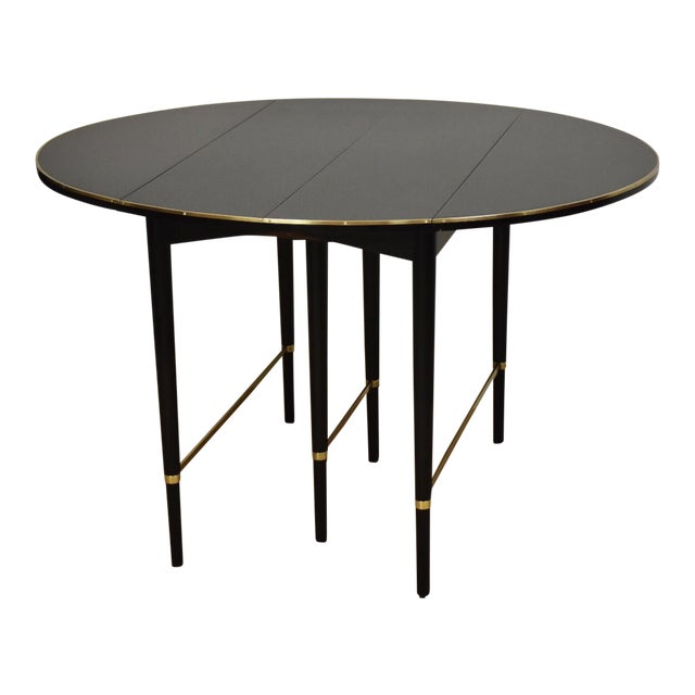 Paul McCobb Black Lacquer and Brass Dining Table For Sale