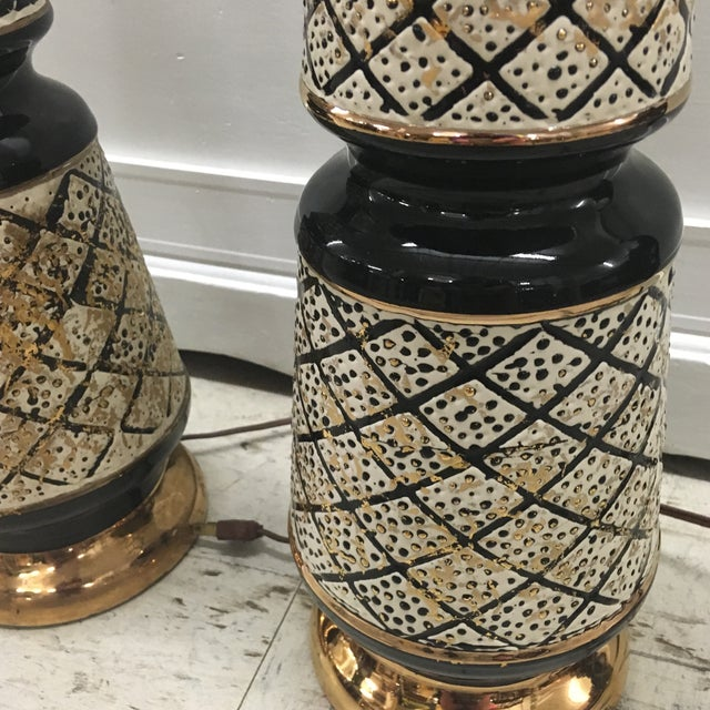 Vintage 50's Ceramic Lamps -Pair For Sale - Image 9 of 13