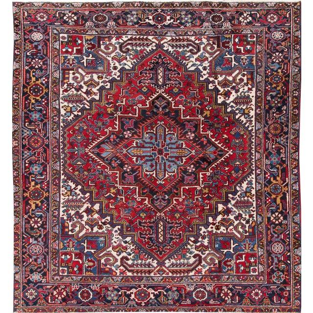 """Apadana - Vintage Persian Heriz Rug, 8' x 8'9"""" - Image 1 of 7"""