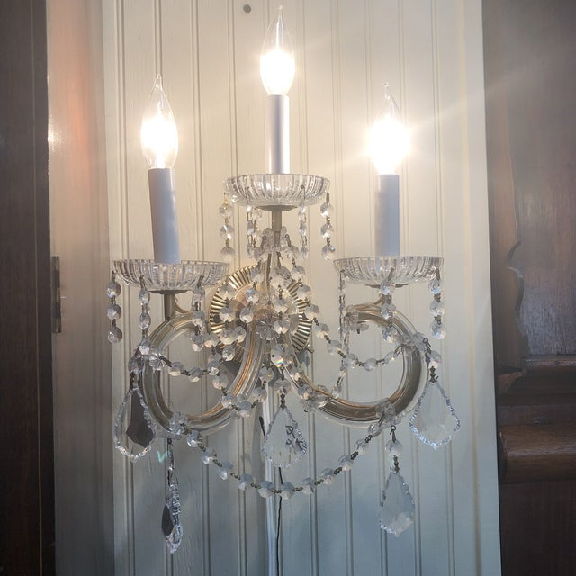 Strass Maria Theresa Swarovski Strass Crystal Sconces - a Pair For Sale - Image 6 of 7