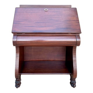 Antique Empire Style Secretary Desk With Lions Feet For Sale