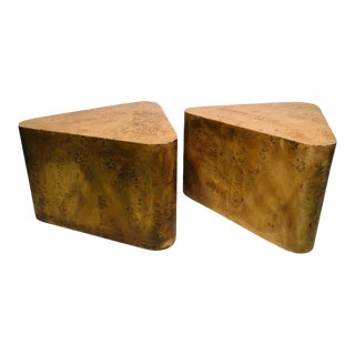 Pair of Milo Baughman Burlwood Side Tables For Sale