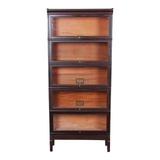 1920s Antique Globe-Wernicke Five-Stack Dark Oak Barrister Bookcase For Sale