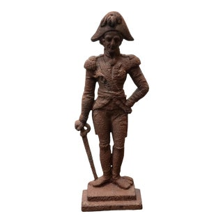 Circa 1870 English Victorian Cast Iron Admiral Horatio Lord Nelson Doorstop For Sale