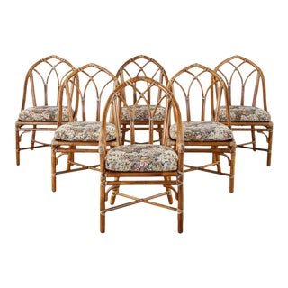 Set of Six McGuire Organic Modern Bamboo Rattan Dining Chairs For Sale