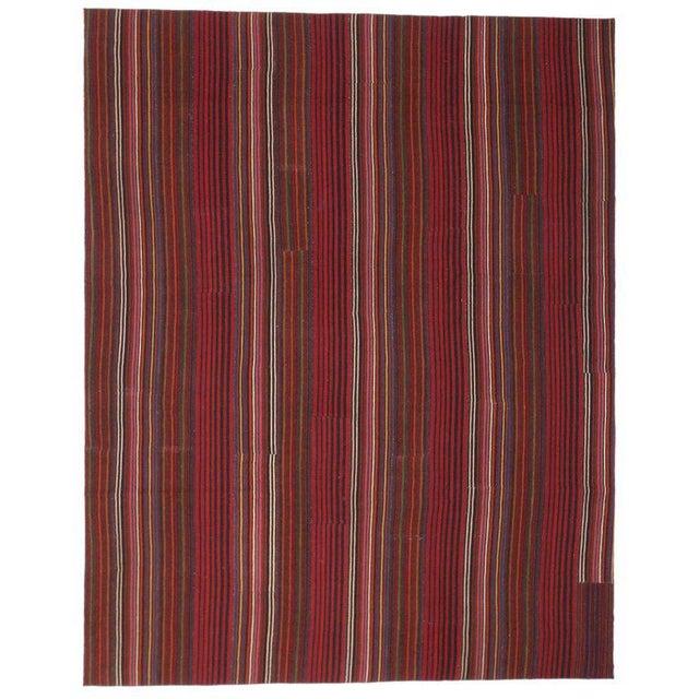 Late 20th Century Vintage Turkish Jajim Kilim Flat-Weave Rug - 9′9″ × 12′5″ For Sale In Dallas - Image 6 of 6