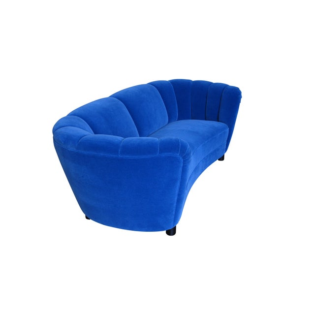 Danish Deco Blue Mohair Settee For Sale - Image 10 of 10