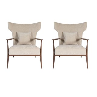 Pair of Morris Winged Back Armchairs For Sale