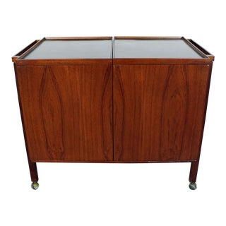 Mid-Century Danish Modern Niels Erik Glasdem Jensen for Illum Bolighus Teak Bar Cart For Sale