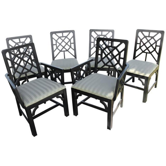 Fretwork Chinese Chippendale Dining Chairs - Set of 6 - Image 9 of 10