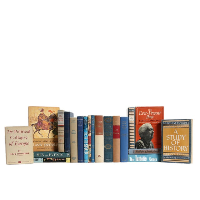 Traditional History of the World : Set of Twenty Decorative Books in Tan & Blue For Sale - Image 3 of 3