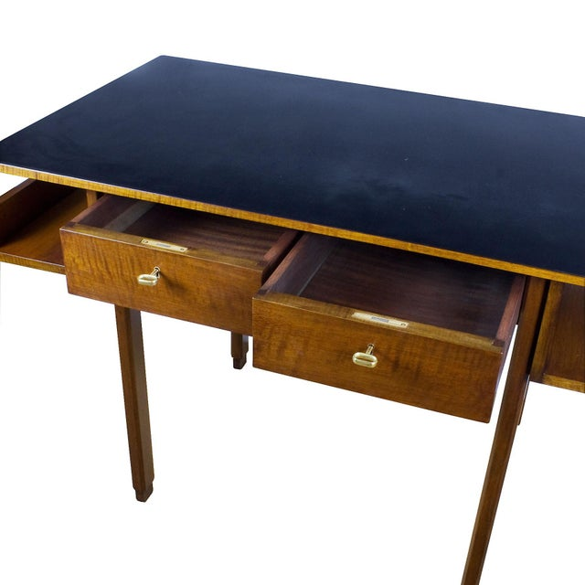 1970s Rationalist Desk by Pietro Bossi, Waxed Walnut, Brass, Formica - Italy For Sale - Image 10 of 13