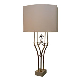 Brass & Iron Parzinger-Style Table Lamp For Sale
