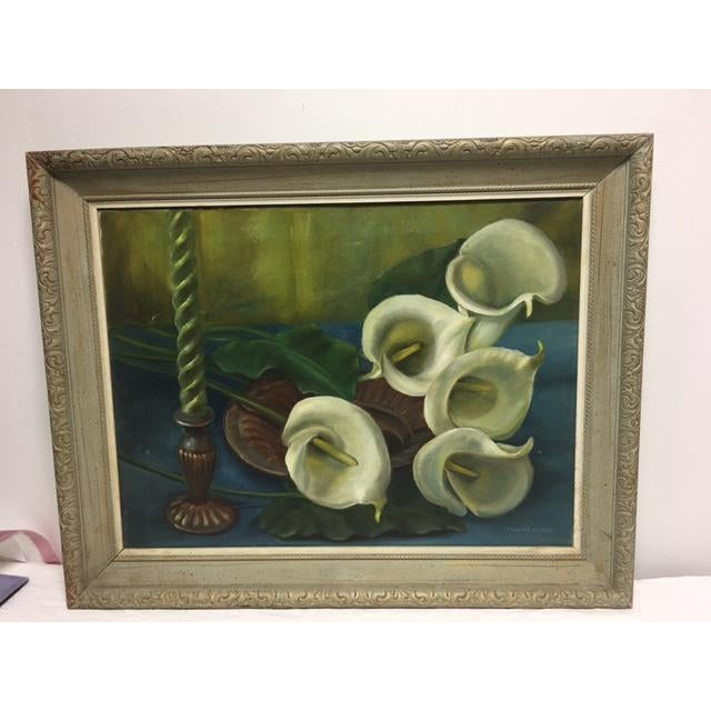 Signed Callalily Oil Painting For Sale - Image 7 of 10