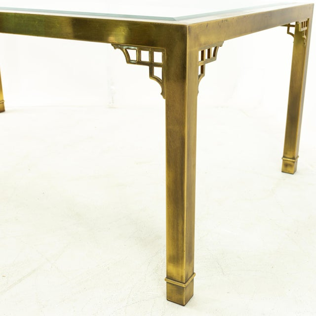 Mastercraft Mid Century Solid Brass and Glass Expanding Dining Table For Sale In Chicago - Image 6 of 13