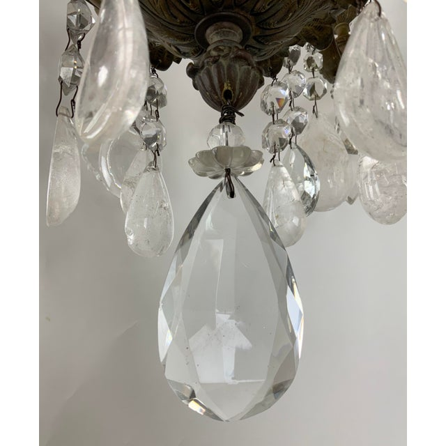 Late 19th / Early 20th Century French Bronze Chandelier With Rock Crystals For Sale - Image 4 of 13