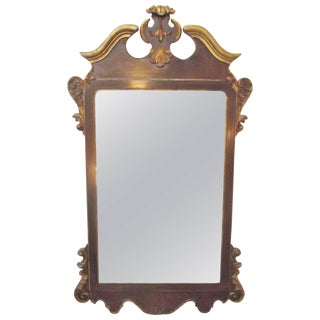 LaBarge Georgian Style Burl Walnut and Distressed Gilt Mirror For Sale