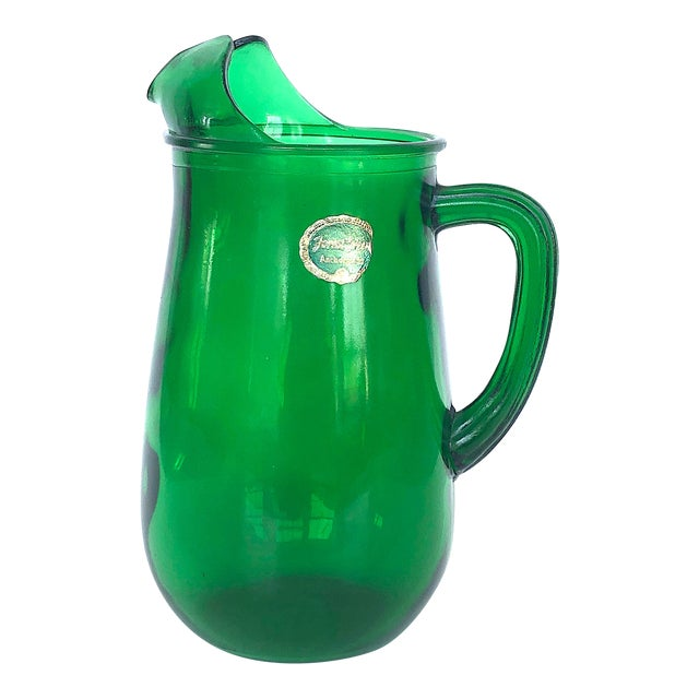 Vintage Anchor Hocking Forest Green Glass Pitcher For Sale