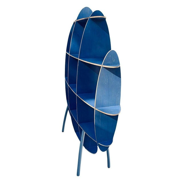 1970s Italian Contemporary Modern Blue Standing Rack/Shelf For Sale - Image 5 of 6