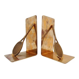 Vintage Brass Tennis Bookends ~ a Pair For Sale