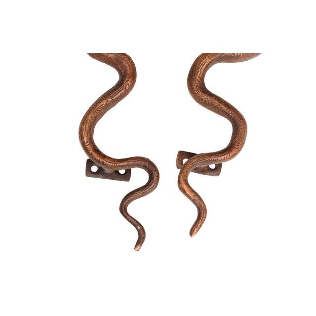 Large Dark Brass Cobra Door Handles - A Pair - Image 4 of 6