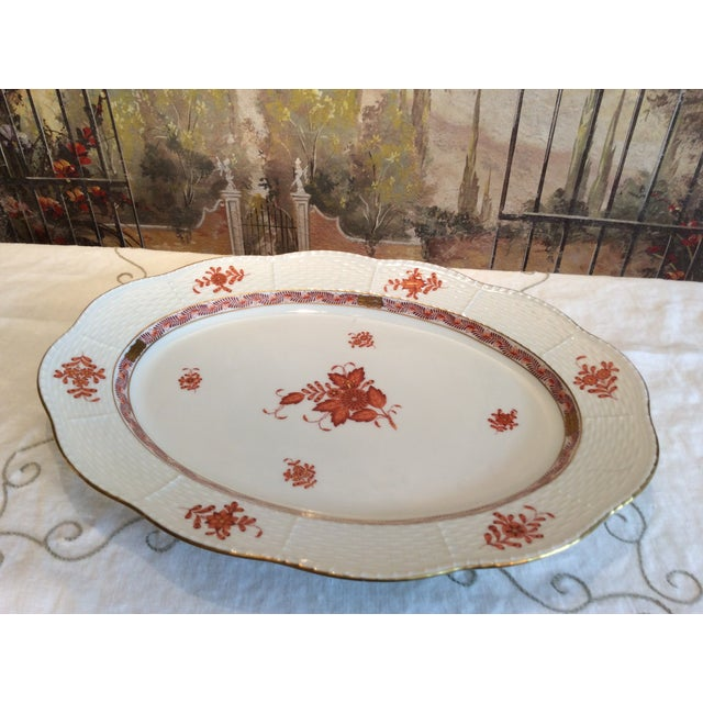 Herend Chinese Bouquet Rust Oval Platter For Sale - Image 9 of 9