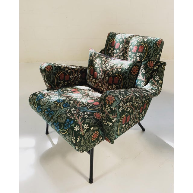 1950s C. 1955 French Lounge Chairs in William Morris Blackthorn, Pair For Sale - Image 5 of 12
