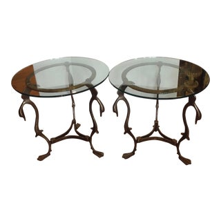 Pair of Midcentury French Steel Swan Motif Tables For Sale