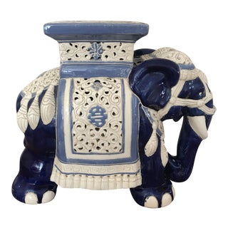 Vintage Blue and White Ceramic Elephant Garden Stool For Sale