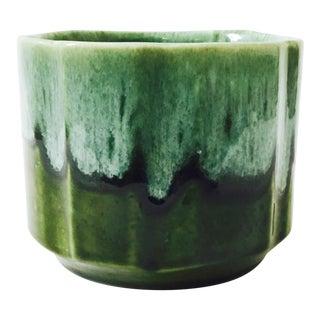 Mid Century Green Drip Pottery Cache Pot