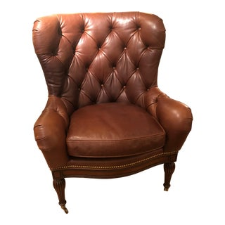 1990s Vintage Buttery Tufted Leather Wing Chair For Sale