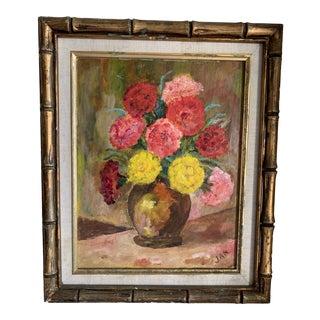 Vintage Bamboo Framed Floral Still Life Painting For Sale
