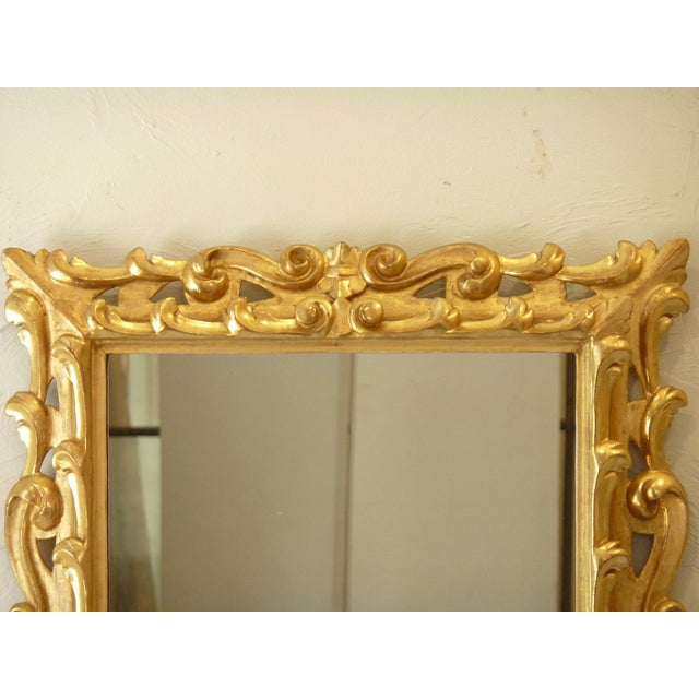 Rococo Italian Carved Giltwood Mirror For Sale - Image 3 of 6