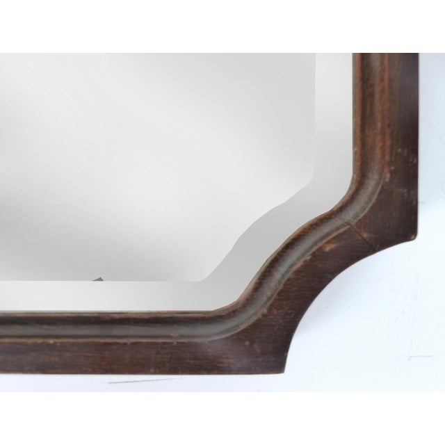 English Traditional Mahogany Curved Wood Beveled Mirror c1920 For Sale - Image 3 of 7
