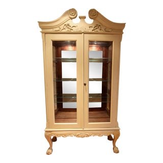 Antique Chalk Paint China Display Cabinet For Sale