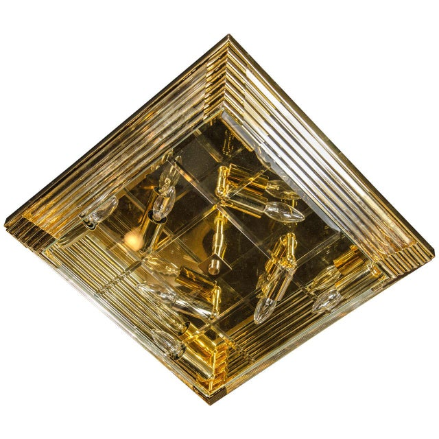 Brass Mid-Century Modernist Brass and Glass Rod Square Flush Mount Chandelier For Sale - Image 7 of 7