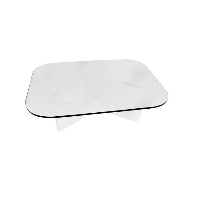 Glass Mid Century Modern Lucite Base Glass Top Coffee Table For Sale - Image 7 of 11