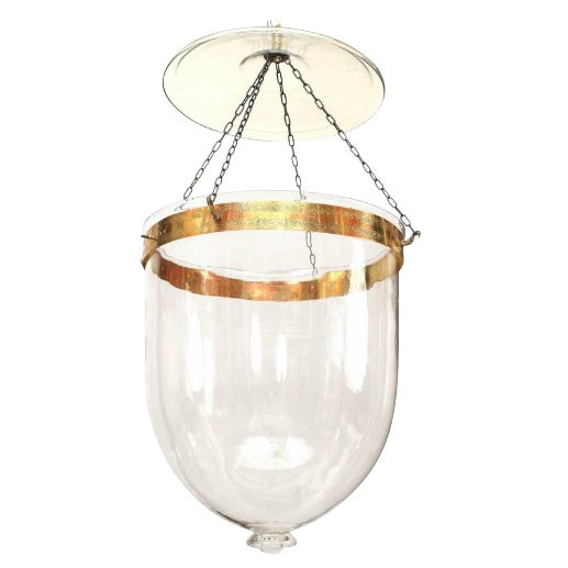 English Georgian Style Clear Glass Hanging Lantern For Sale