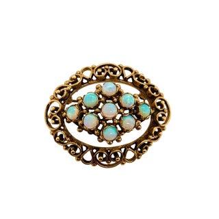 Vintage 14k Gold Opal Pin / Pendant For Sale