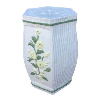 1970s Vintage Hollywood Regency Ceramic Faux Bamboo Garden Stool For Sale