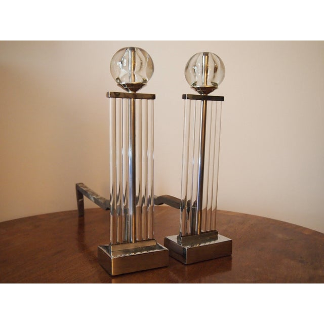 Art Deco Chrome and Glass Column Andirons For Sale - Image 11 of 11